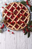 American homemade cherry pie. vertical top view Royalty Free Stock Image