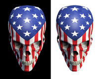 American horror v2. 3D render of skull decorated with USA flag Royalty Free Stock Photos