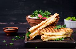 American hot cheese sandwich. Homemade grilled cheese sandwich royalty free stock photos
