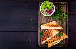 American hot cheese sandwich. Homemade grilled cheese sandwich stock photo
