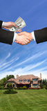 American house. New American house, hands and money Stock Photos