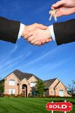 American house. New house, hands and blue sky Royalty Free Stock Photos