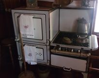Old American stove with oven royalty free stock photography