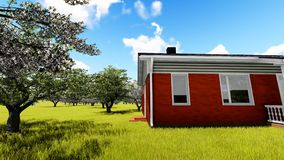American, house in cherry orchard stock footage