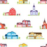 American houses, churches and farm seamless pattern. Stock Images
