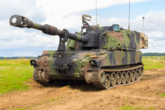 American howitzer stands on a battlefield Royalty Free Stock Photography