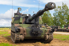 American howitzer stands on a battlefield. An american howitzer stands on a battlefield Stock Images