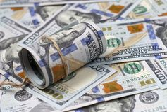 American hundred dollar bills close-up, money background royalty free stock photos