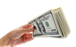 American hundred dollars bundle in the hand Stock Image