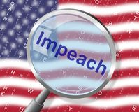 American Impeachment Magnifier Accusation To Remove Corrupt President Or Politician. Legal Indictment In Politics stock illustration
