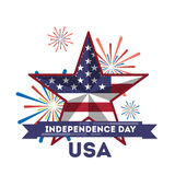 American independance day. Star with american flag Royalty Free Stock Images