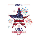 American independance day. Star with american flag Royalty Free Stock Photography