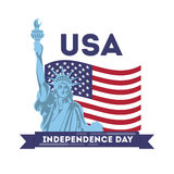American independance day. Statue of liberty with national flag Royalty Free Stock Images