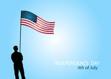 American independence day 4th of July. Independence day 4th of July. Man with  american flag silhouette Stock Photo