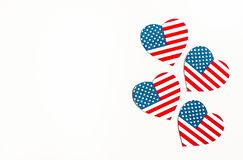 American Independence day background with blue, white and red mixed stars and hearts. Celebration of American independence day, th stock photography