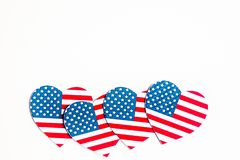 American Independence day background with blue, white and red mixed stars and hearts. Celebration of American independence day, th stock photo