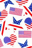 American Independence day background with blue, white and red mixed stars and hearts. Celebration of American independence day, th stock images