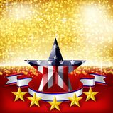 American Independence Day background flag on stage. Royalty Free Stock Images