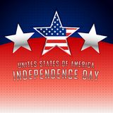 American independence day background with three silver stars Stock Photo