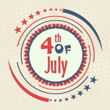 American Independence Day badge design. 4th of July, American Independence Day celebration with stylish badge and national flag color design on vintage Stock Image