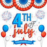 American Independence Day celebration background. American Independence Day celebration background with stylish text 4th of July, firecrackers and balloons in Stock Image
