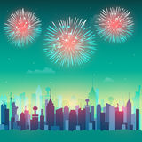 American Independence Day celebration background. View of New York city architecture with firecrackers for American Independence Day celebration Stock Photography