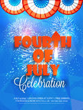 American Independence Day celebration beautiful invitation card. Shiny fireworks decorated beautiful invitation card with stylish text Fourth of July for Stock Photos