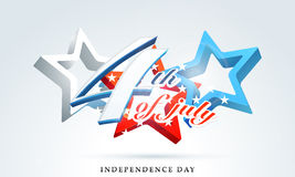 American Independence Day celebration with 3D stars. Stylish text 4th of July with 3D glossy stars in national flag color on shiny sky blue background for royalty free illustration