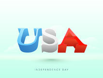 American Independence Day celebration with 3D text. 3D glossy text USA flying in cloudy sky background for 4th of July, American Independence Day celebration vector illustration