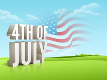American Independence Day celebration with 3D text. Stock Image