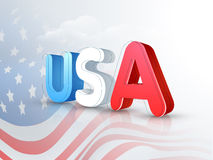 American Independence Day celebration. 3D text USA on national flag waves background for 4th of July, American Independence Day celebration royalty free illustration