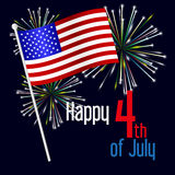 American independence day celebration with flag and fireworks eps10 Royalty Free Stock Images