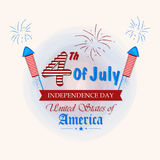 American Independence Day celebration greeting card. Stock Photos