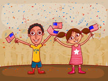 American Independence Day celebration with happy kids. Stock Photos