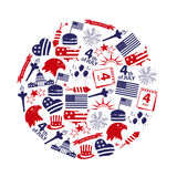 American independence day celebration icons in circle eps10 Stock Photo