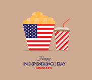 American independence day, celebration, patriotism and holidays concept - close up of juice glass or mason jar, popcorn and candie Stock Photo