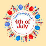 American Independence Day celebration sticker, tag or label. 4th of July, American Independence Day celebration sticker, tag or label decorated with colorful Royalty Free Stock Photography