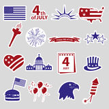 American independence day celebration stickes set eps10 Royalty Free Stock Photo