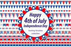 American Independence Day, celebration in USA. Set borders, bunting, flags, garland. Collection of decorative elements. For July 4th national holiday. Vector Vector Illustration