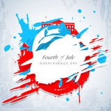 American Independence Day concept. Fourth of July, American Independence Day concept with blue silhouette of Statue of Liberty and flag colors on grungy vector illustration