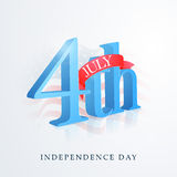 American Independence Day with 3D glossy text. Stock Images