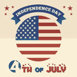 American Independence Day flat design. 4th of July - American Independence Day flat design card Royalty Free Stock Photography