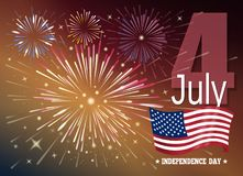 American Independence Day. Fourth of July. Festive design with USA flag and fireworks. Parade in honor of Independence Day. Vector illustration Royalty Free Stock Images