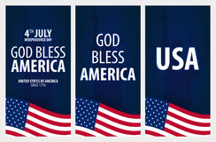 American Independence Day. God Bless America. 4th July. Template background for greeting cards, posters, leaflets and brochure. Ve Stock Photos