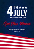 American Independence Day. God Bless America. 4th July. Template background for greeting cards, posters, leaflets and brochure. Ve Royalty Free Stock Image
