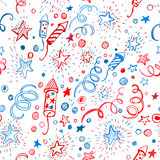 American Independence Day. Hand-drawn pattern. 4th of July. American Independence Day. Hand-drawn seamless pattern EPS10 Vector Illustration