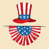 American independence day. Hat with the flag of the United States of America with the tape. The American symbol is uncle. Sam`s hat. Hand drawing in sketch vector illustration