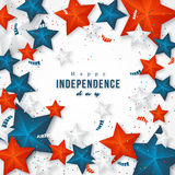 American independence day. Holiday background with 3d stars and confetti. Vector illustration stock illustration