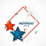 American independence day. Holiday background with frame, 3d stars and confetti. Vector illustration stock illustration