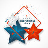 American independence day. Holiday background with frame, 3d stars and confetti. Vector illustration royalty free illustration